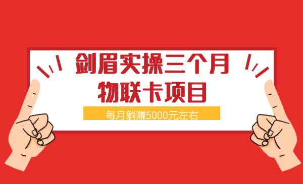 剑眉实操三个月物联卡项目(每月躺赚5000元左右)