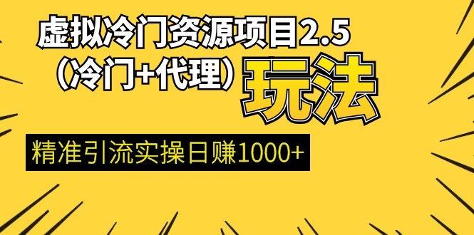 王校长虚拟冷门资源项目:最新代理玩法, 精准引流实操日赚1000+(更新中)