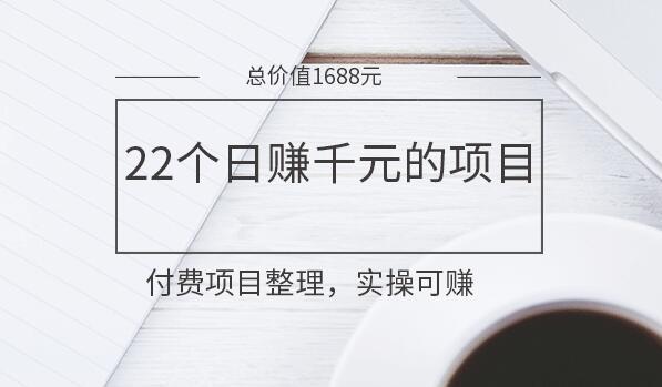 22个日赚千元的项目分享(价值1688元)