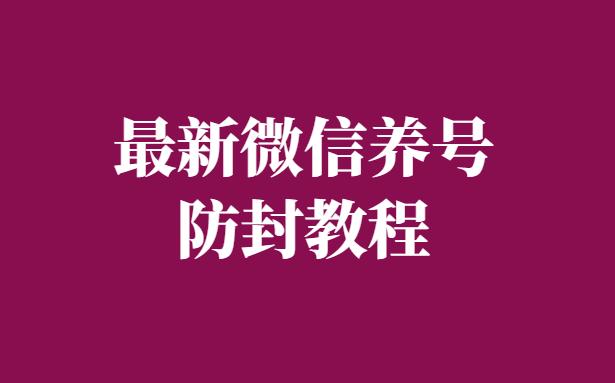 全网首发:最新微信养号和防封全教程(PDF文档)